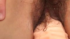 Hairy asian MILF with great saggy tits toyed